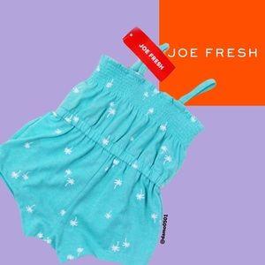NWT Joe Fresh Baby Teal Palm Tree Print Romper